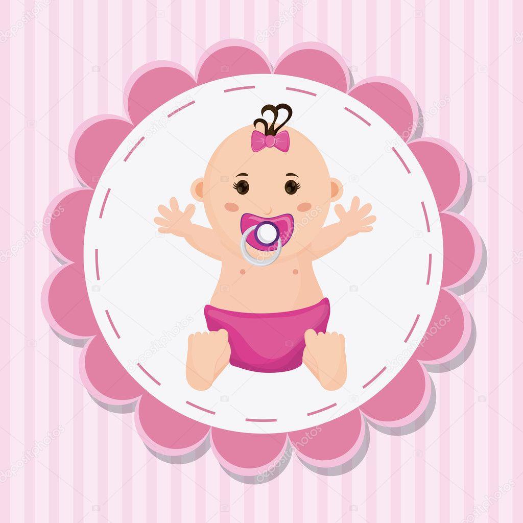 desenho de beb menina do conceito do chuveiro de beb vetor de stock
