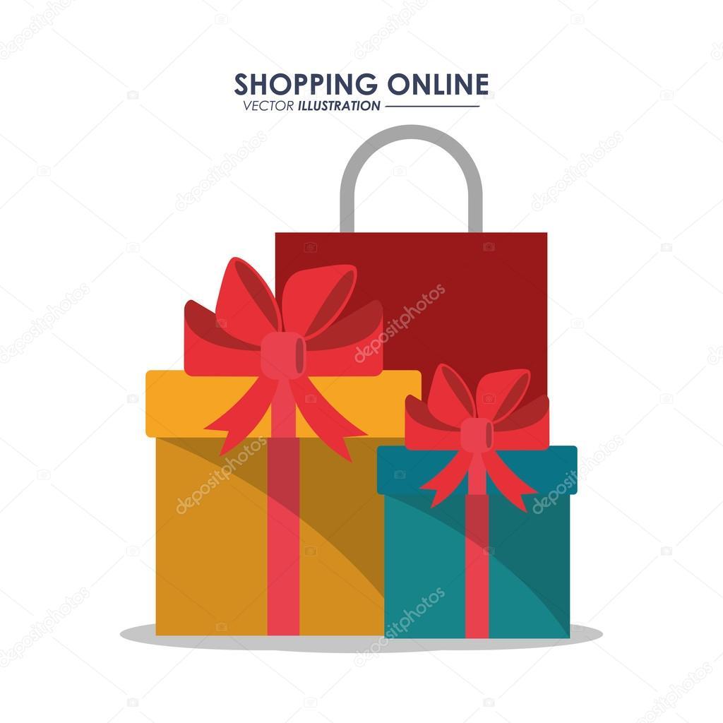 Gif bag and shopping online design — Stock Vector © jemastock  128034770 2c60e182c5d35