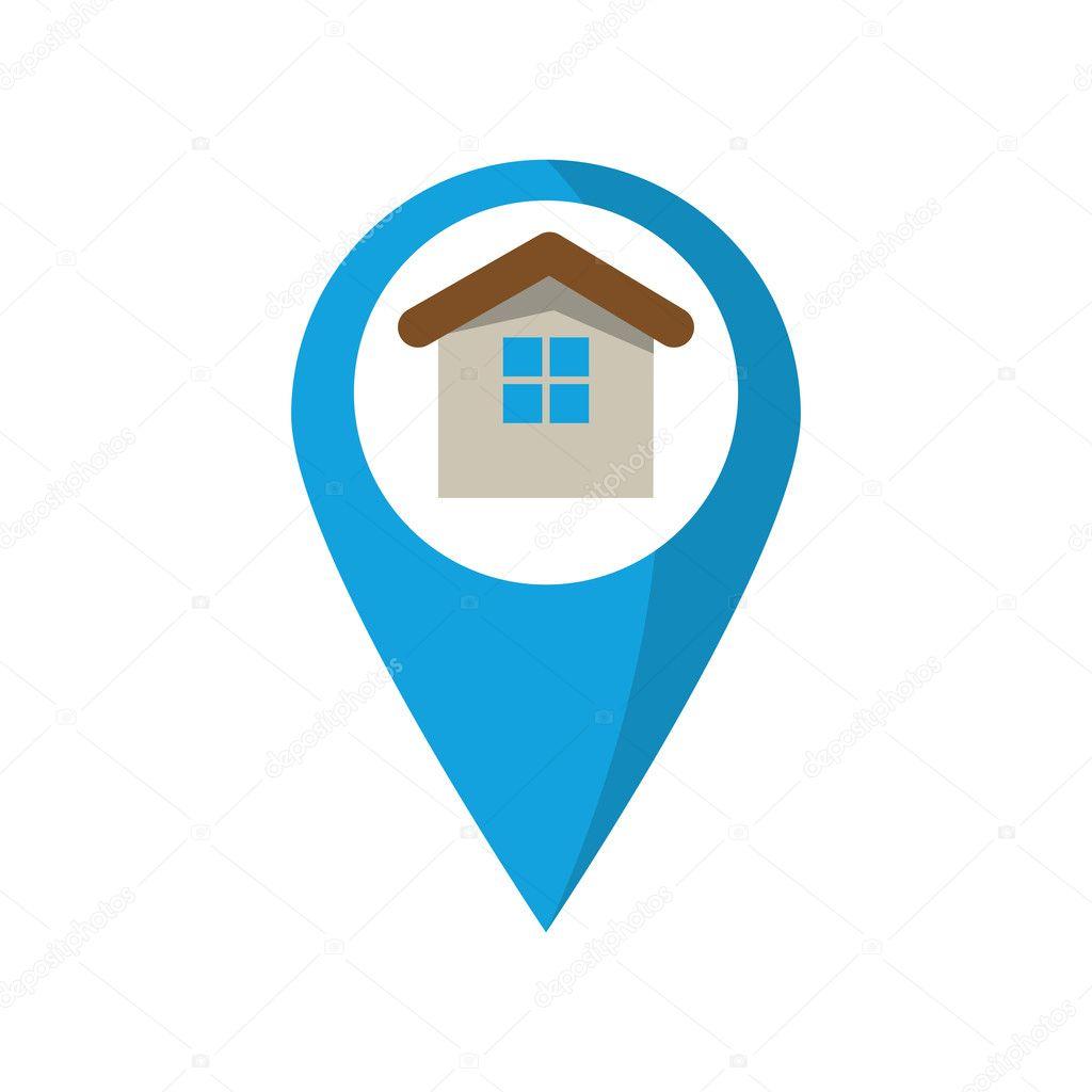 Isoliertes Haus innen Gps-Tasten-design — Stockvektor © jemastock ...