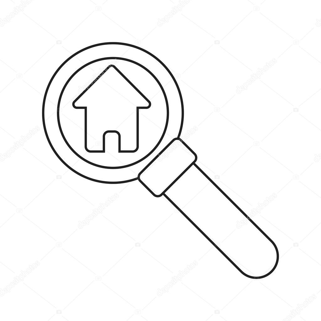 Isoliertes Haus innerhalb Lupe design — Stockvektor © jemastock ...