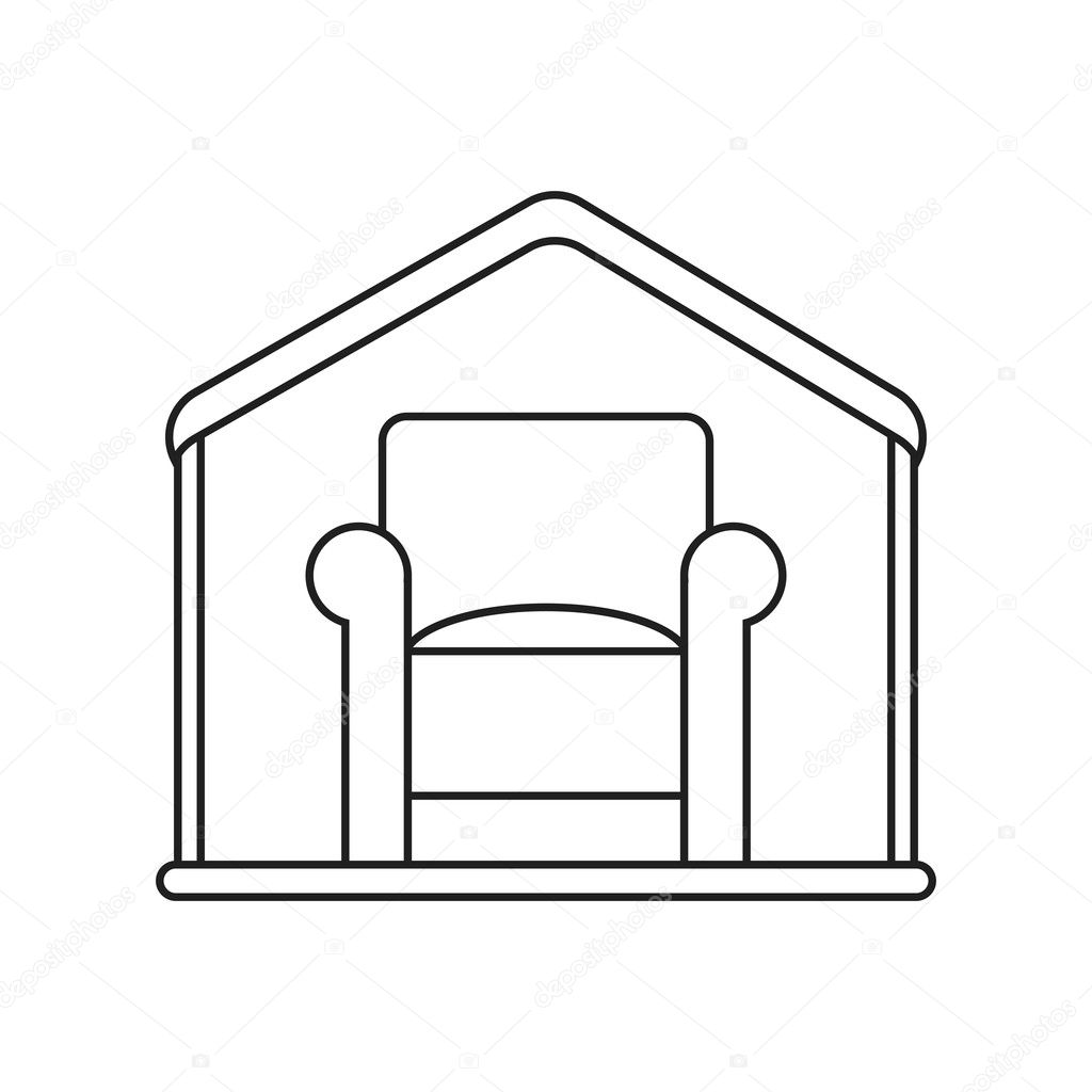 Isolated Chair Inside House Design Stock Vector