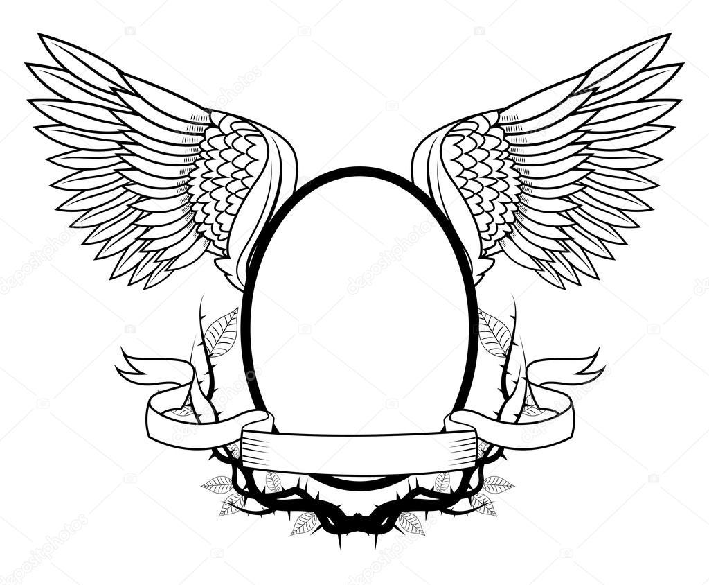 Marco con diseño de alas del tatuaje del arte — Archivo Imágenes ...