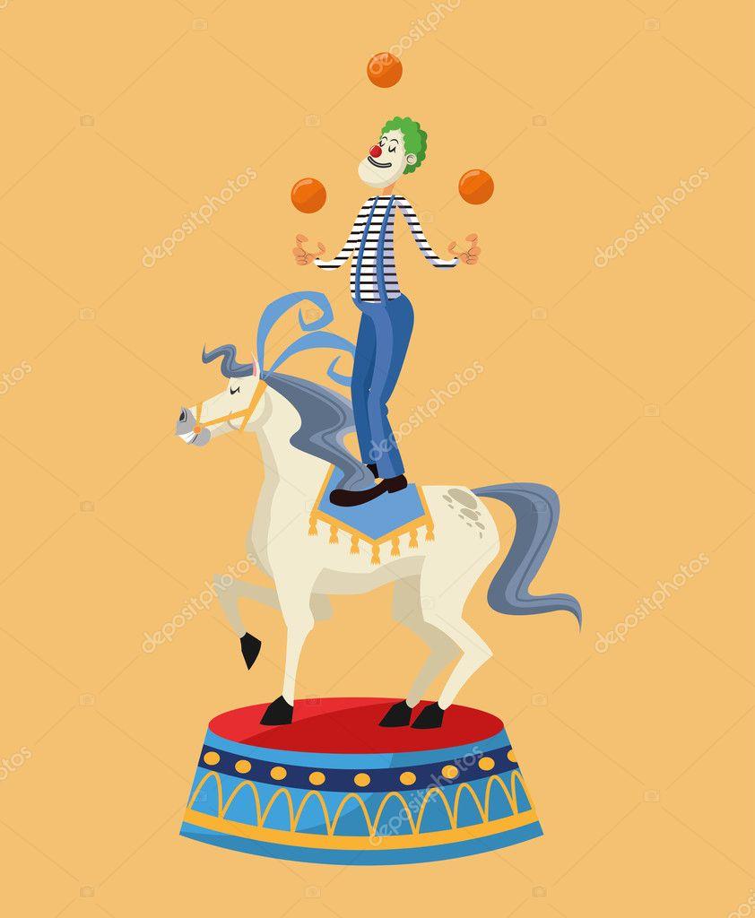 Pagliaccio Rispetto A Cavallo Del Design Di Carnevale Vettoriali