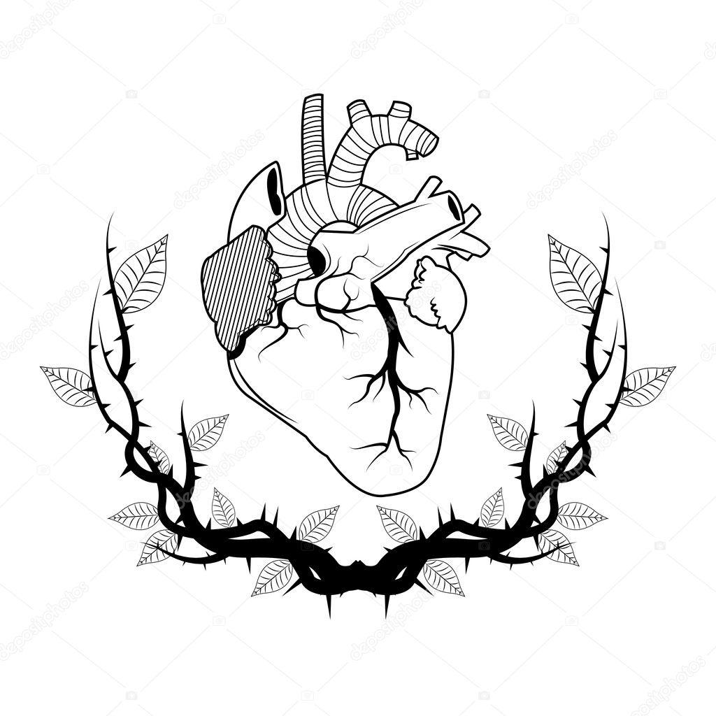 Serce Z Gałęzi Sztuki Tatuażu Grafika Wektorowa
