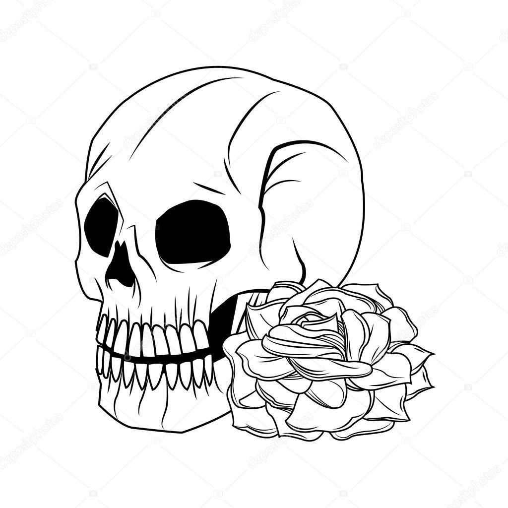 Skull And Rose Tattoo Art Design Stock Vector Jemastock 128521558