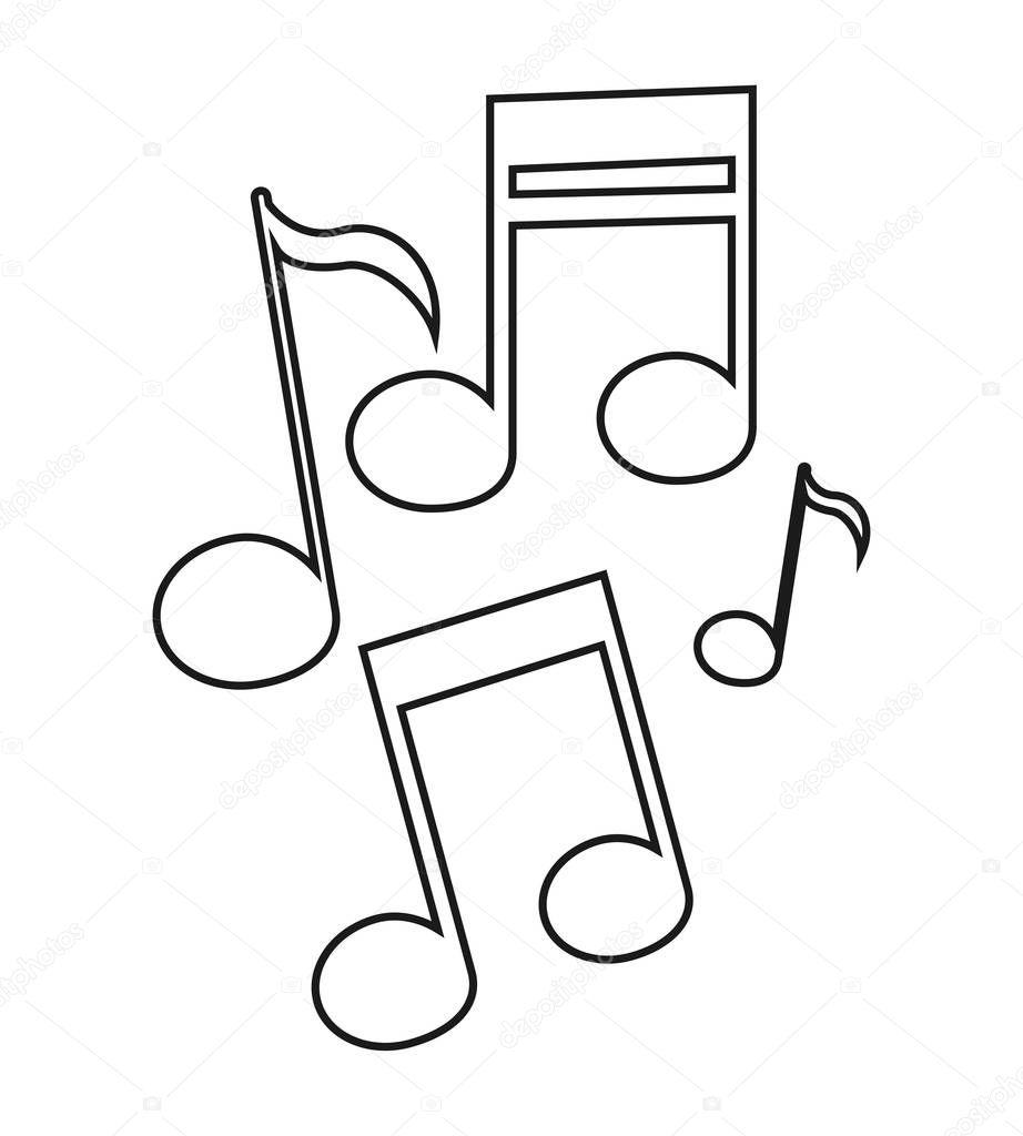 Disegno della nota di musica isolato vettoriali stock - Note musicali da colorare pagina da colorare ...