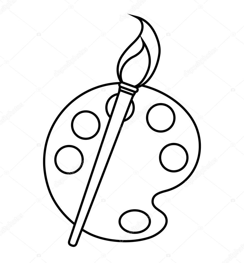 disegno di tavolozza e pennello di vernice isolato