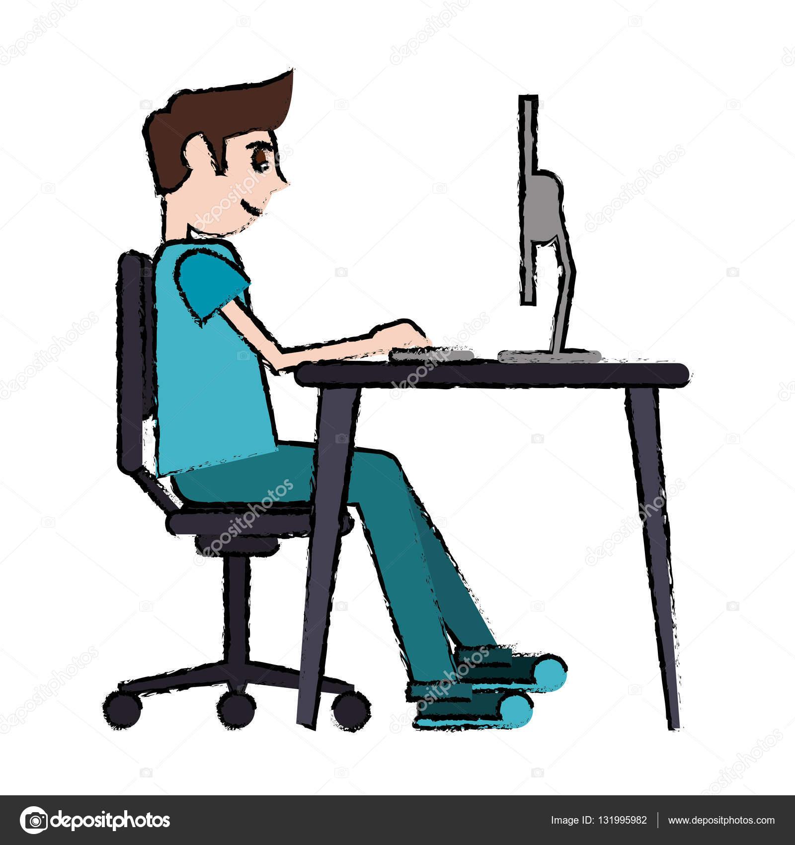 Computadora Portatil Dibujo Dibujos Animados Hombre Sentado