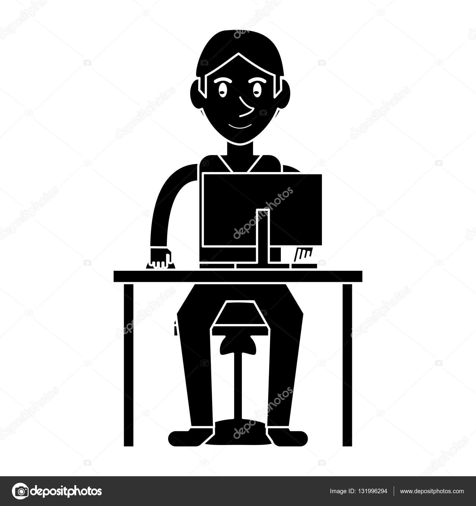 silhouette young boy uses computer desk chair design — Stock Vector ...