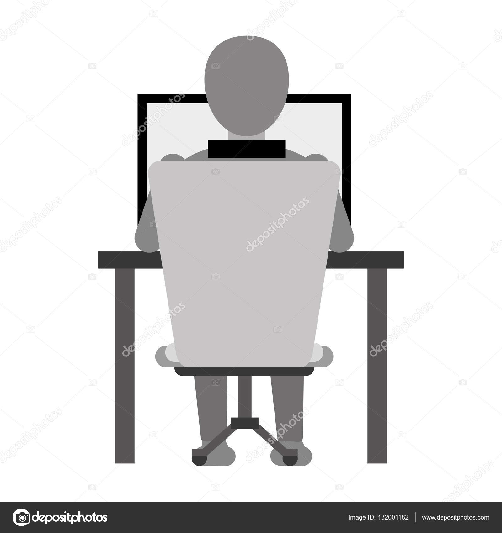 Laptop Chair Desk Guy Back Working Laptop Chair Desk Monochromatic Stock Vector