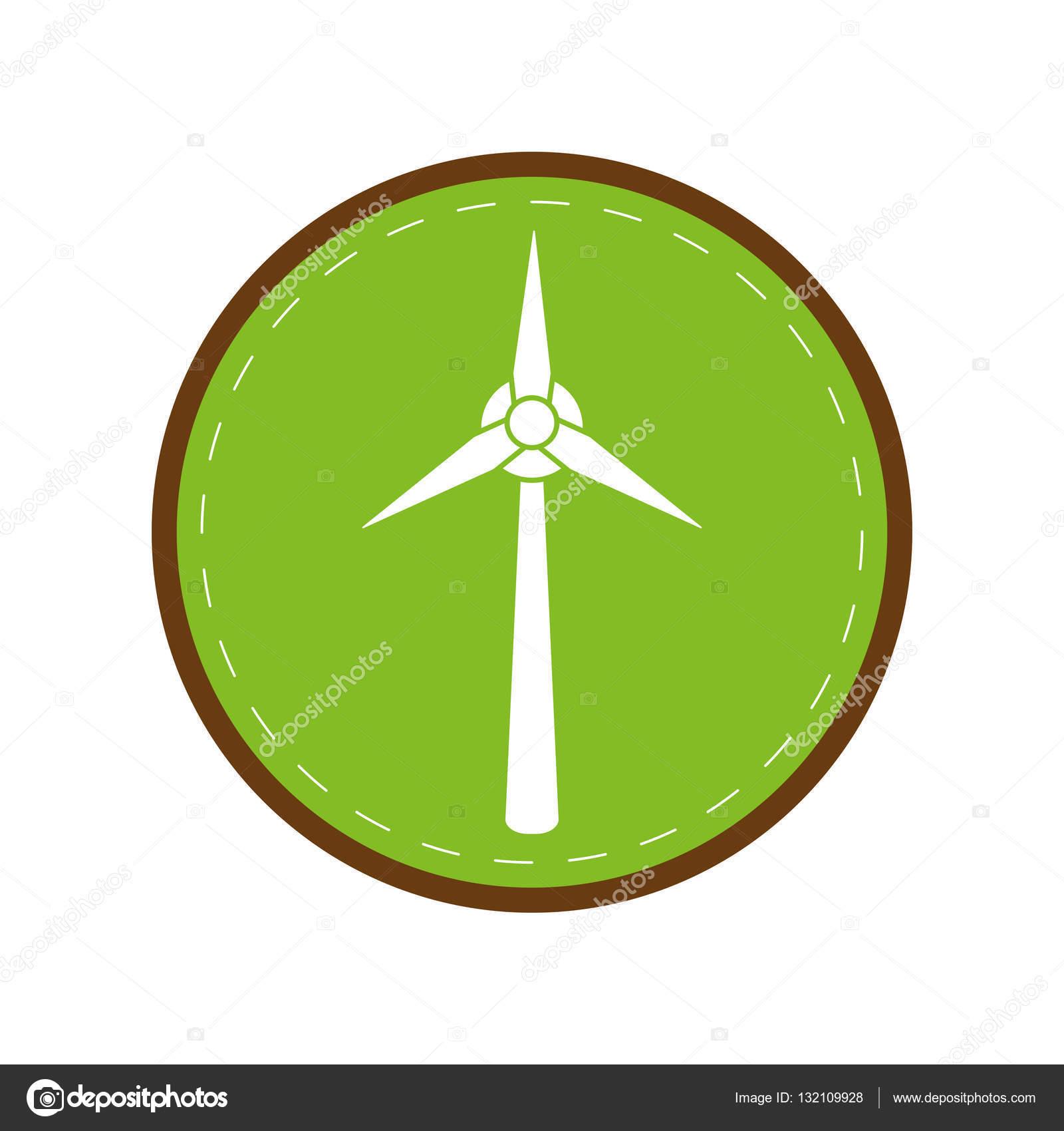 Ökologie Wind Turbine Strom Generator grünen Kreis — Stockvektor ...