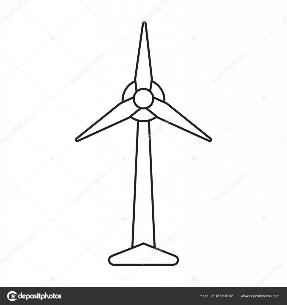 Ökologie-Wind-Turbine-Strom-Generator-Piktogramm — Stockvektor ...