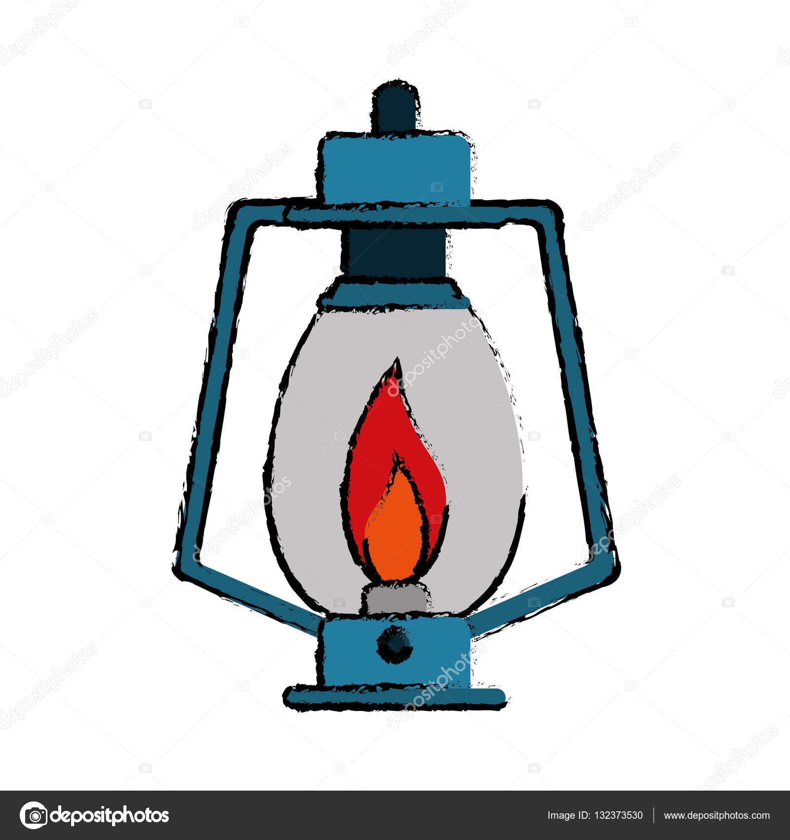 Drawing Lamp Kerosene Old Lantern Camping Stock Vector 132373530