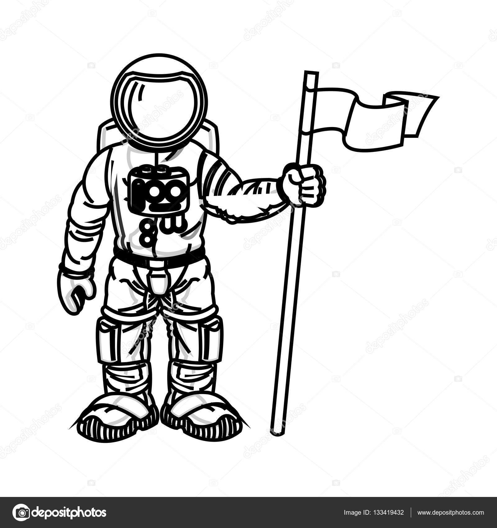 Isolierten Astronauten-Cartoon-design — Stockvektor © jemastock ...