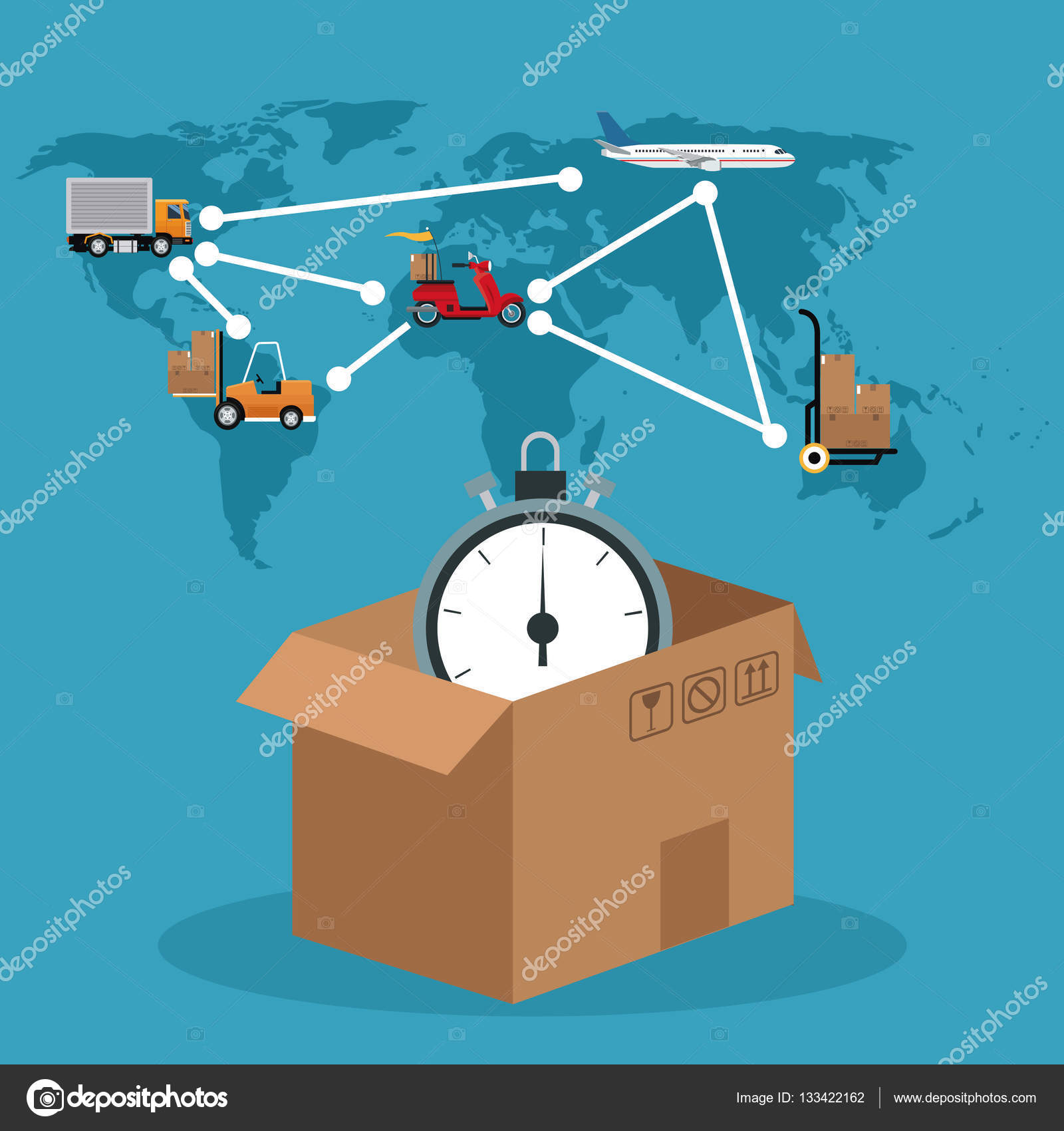 cardboard box clock connection global delivery concept — Stock ...