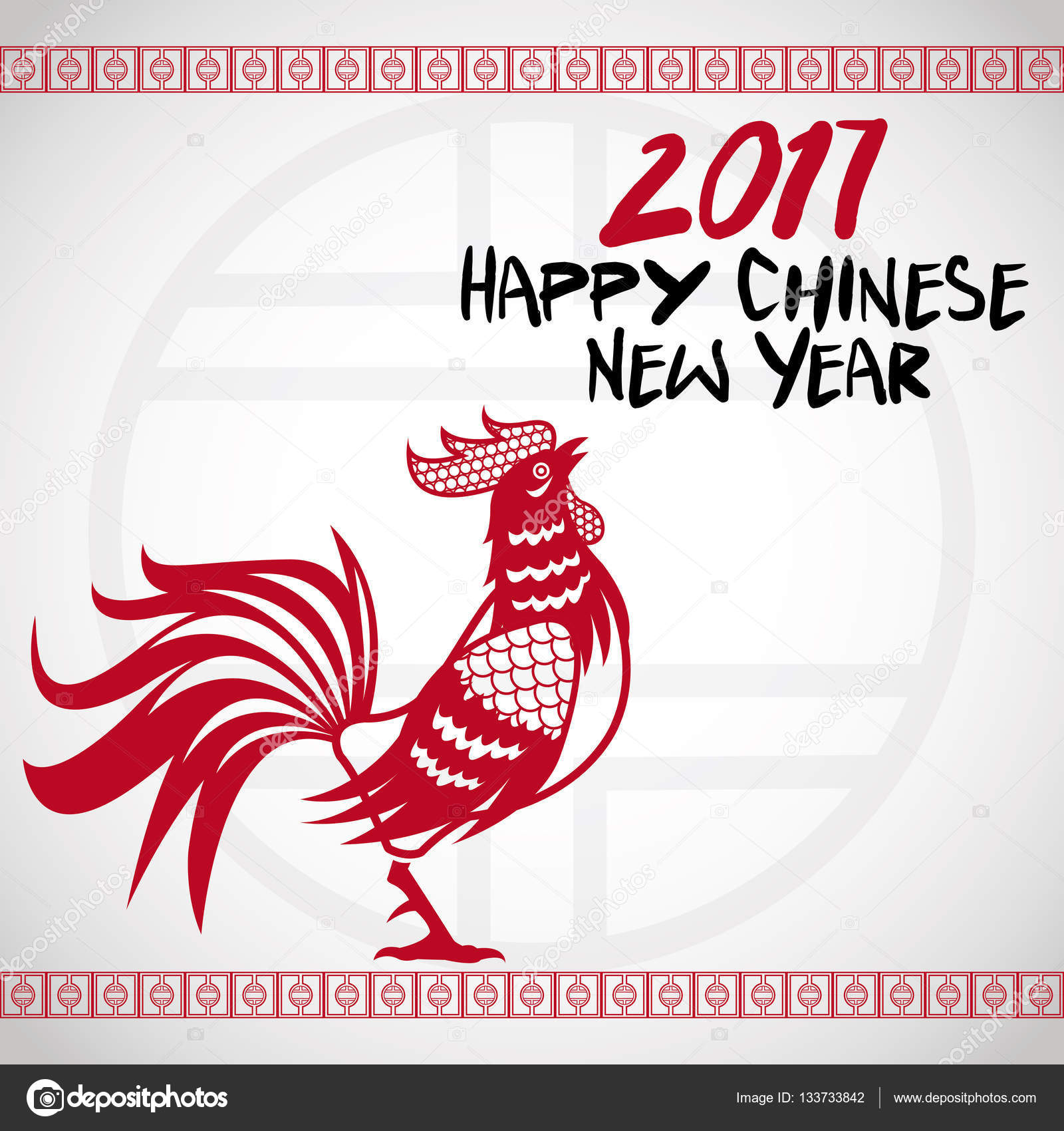 New year 2017 greeting pictures year of rooster happy chinese new year - Greeting Card Rooster Chinese New Year 2017 Stock Vector 133733842