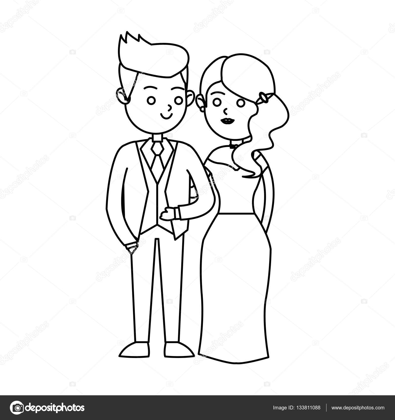 Aisladas diseño novia y el novio — Archivo Imágenes Vectoriales ...