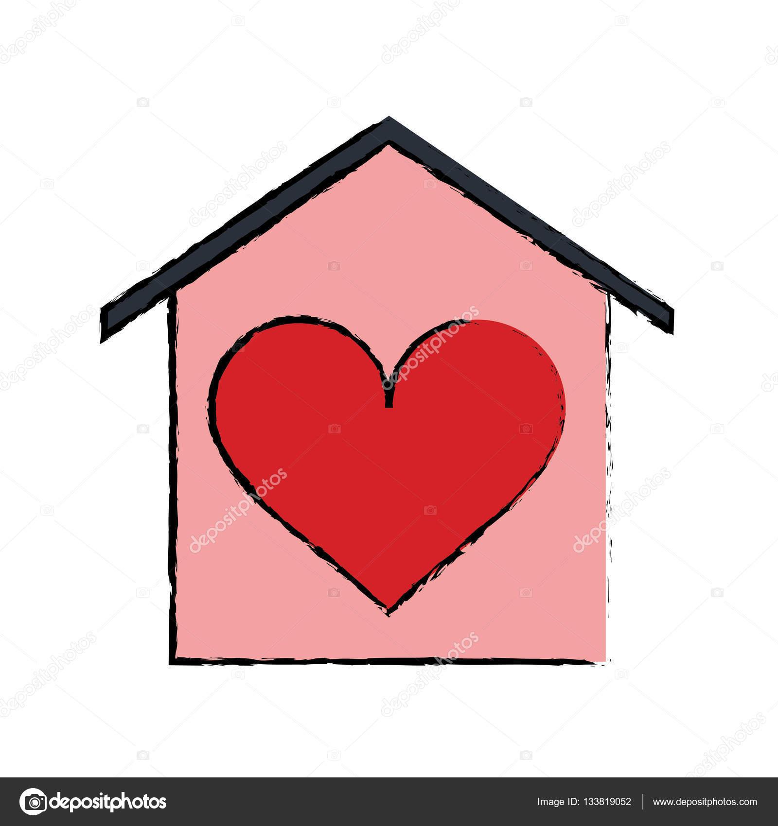 cart o de beauitful cartoon casa amor cora o vetores de. Black Bedroom Furniture Sets. Home Design Ideas