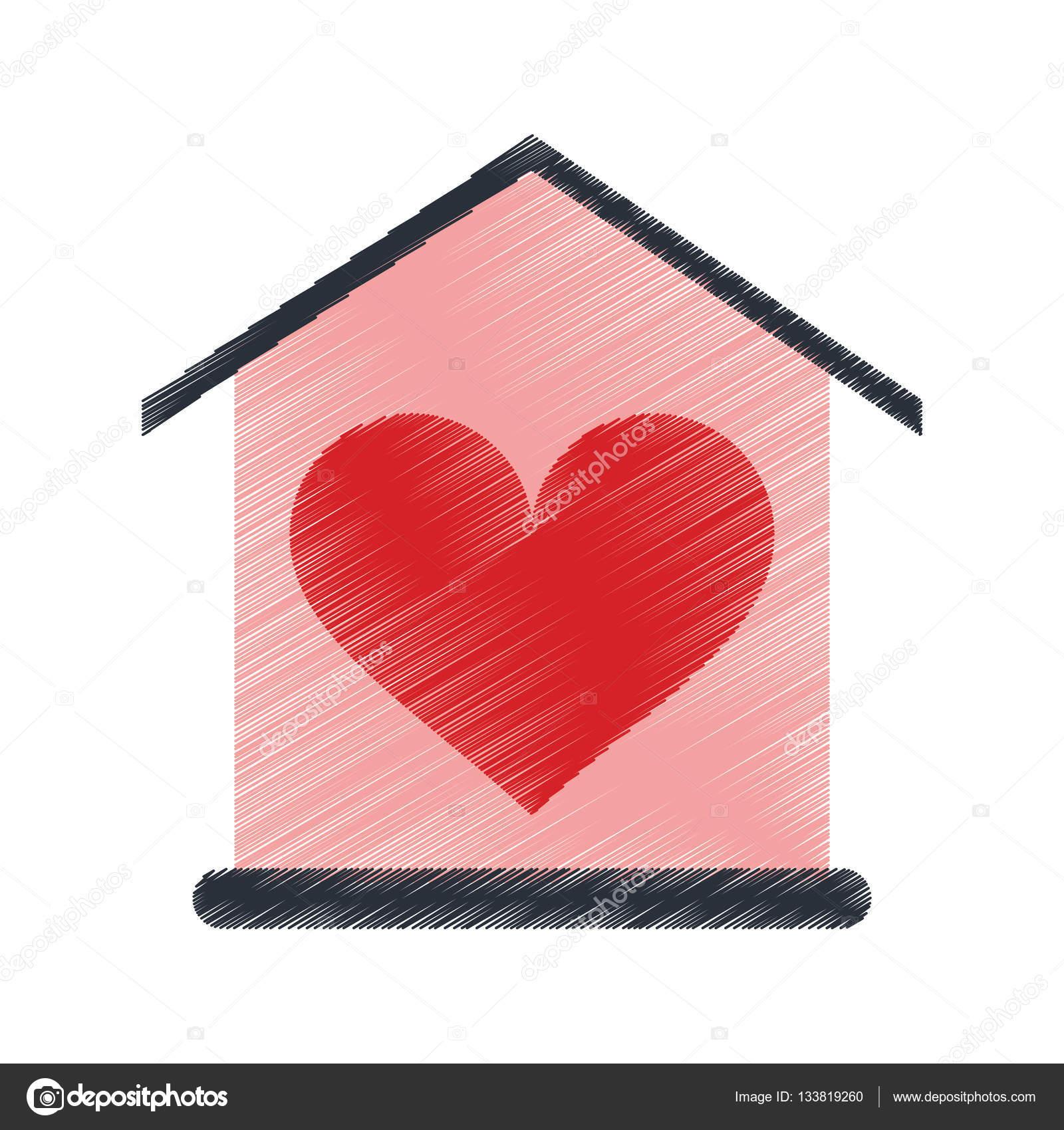 scheda di disegno casa amore cuore beauitful vettoriali. Black Bedroom Furniture Sets. Home Design Ideas