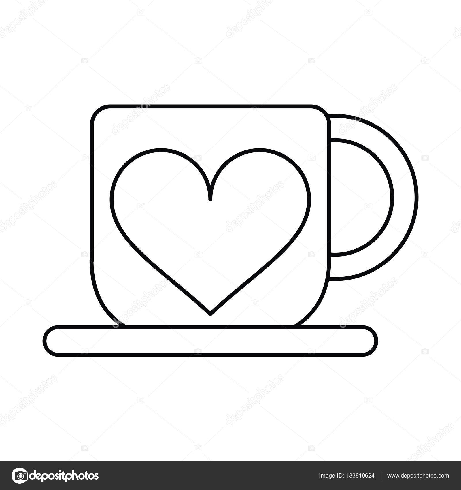 Cup Coffee Love Heart Hot Outline Vector Illustration Eps 10 By Jemastock