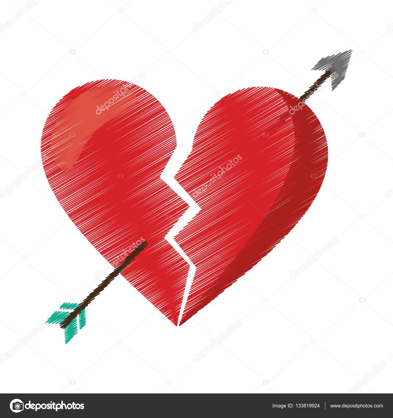 Imágenes De Corazones Tristes Dibujo Rojo Corazón Roto Triste
