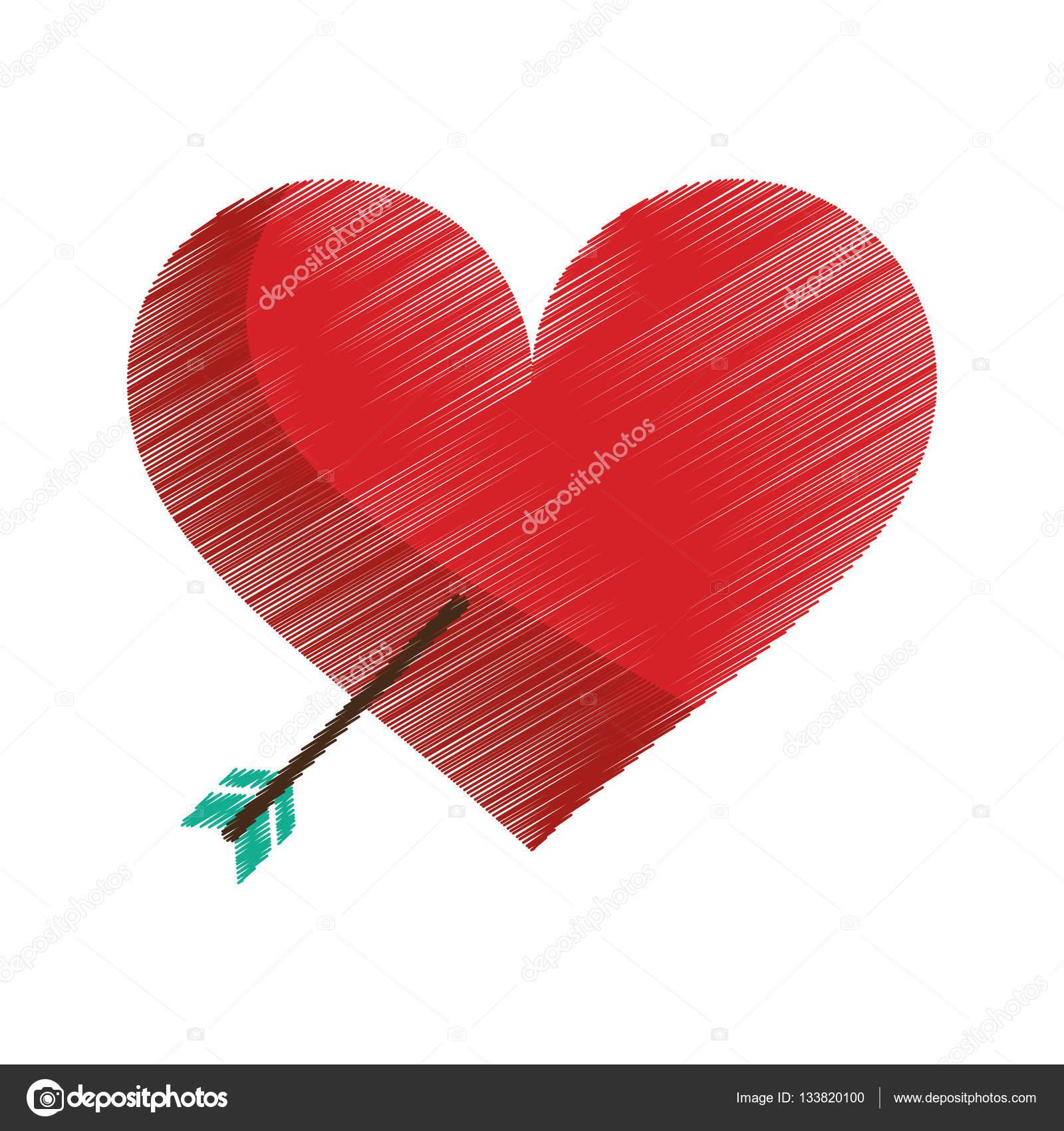 Foto Coeur Damour Dibujo De Corazón Rojo Con Flecha De