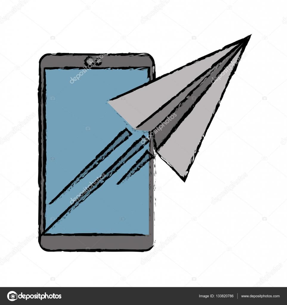 képek küldése e mailben rajz küldése e mailben koncepció smartphone — Stock Vektor  képek küldése e mailben