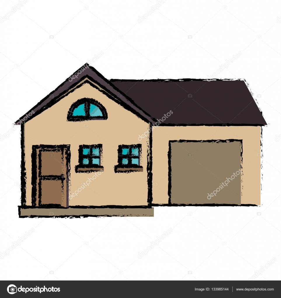 style de dessin maison moderne avec garage — Image vectorielle ...