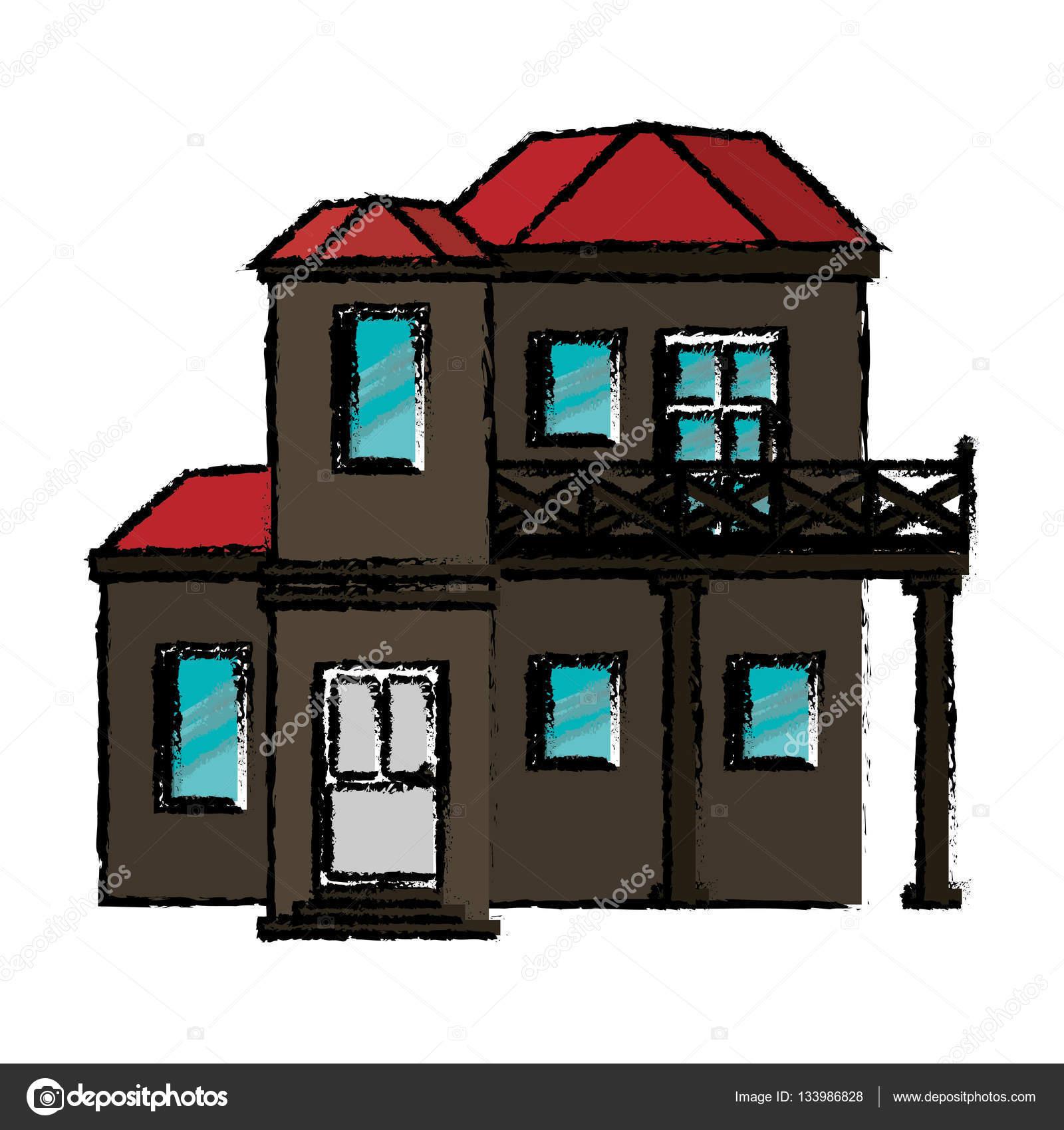 zeichnung haus mit balkon roten dach stockvektor. Black Bedroom Furniture Sets. Home Design Ideas