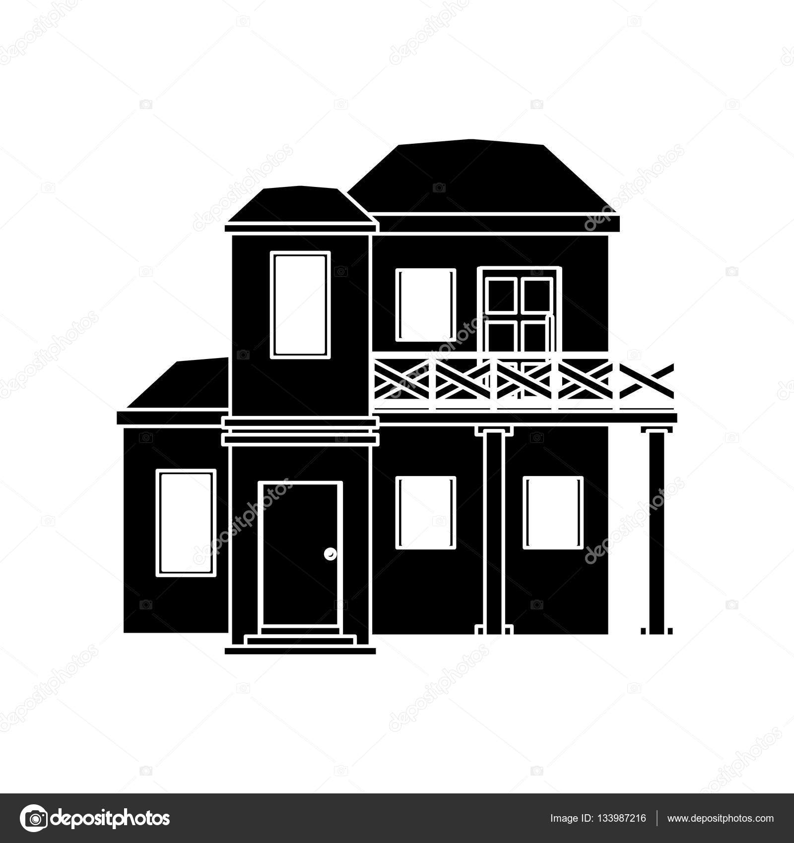 Piktogramm Haus Mit Balkon Dach Stockvektor C Jemastock 133987216