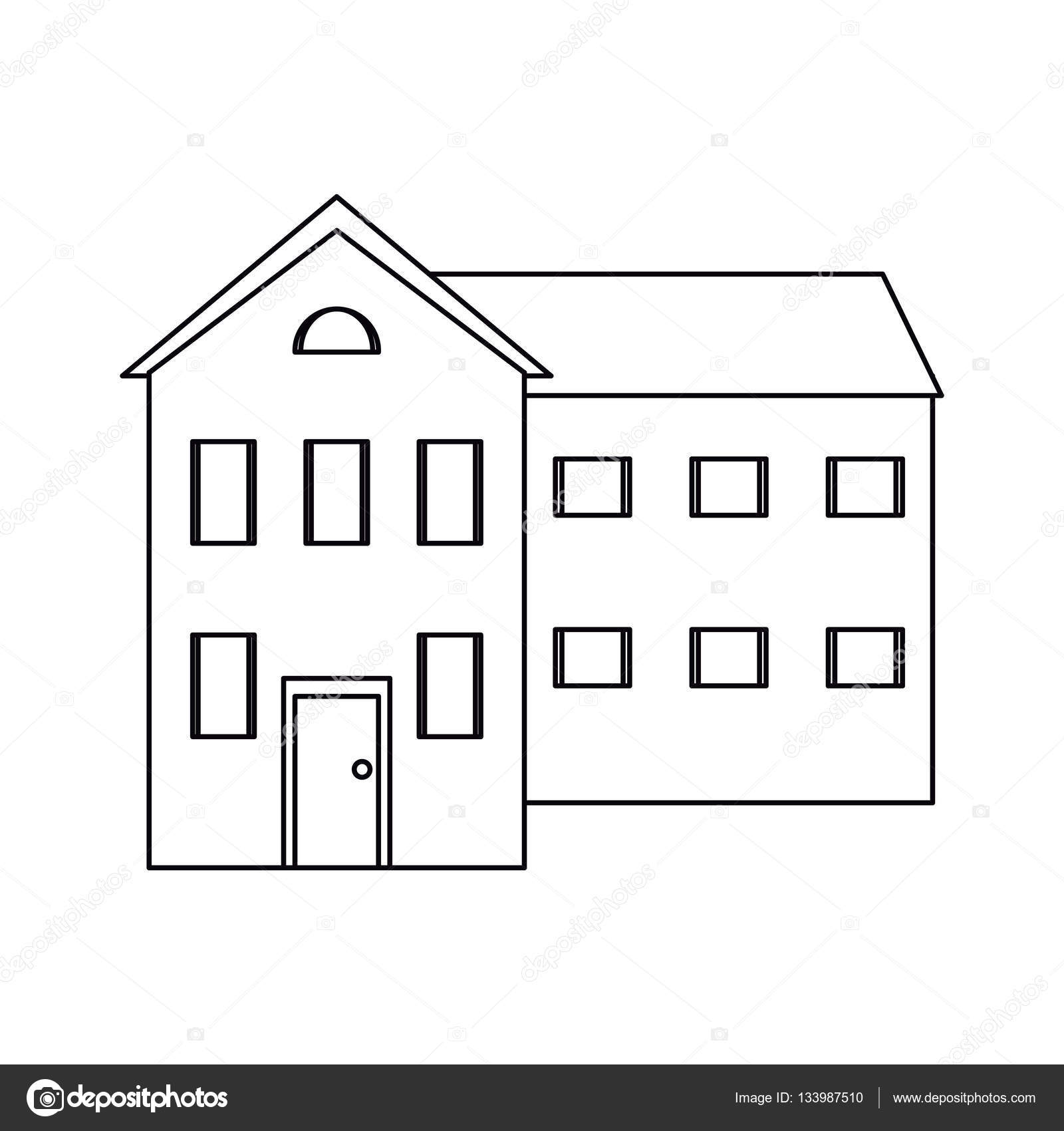 big house and many windows outline — Stock Vector © jemastock #133987510