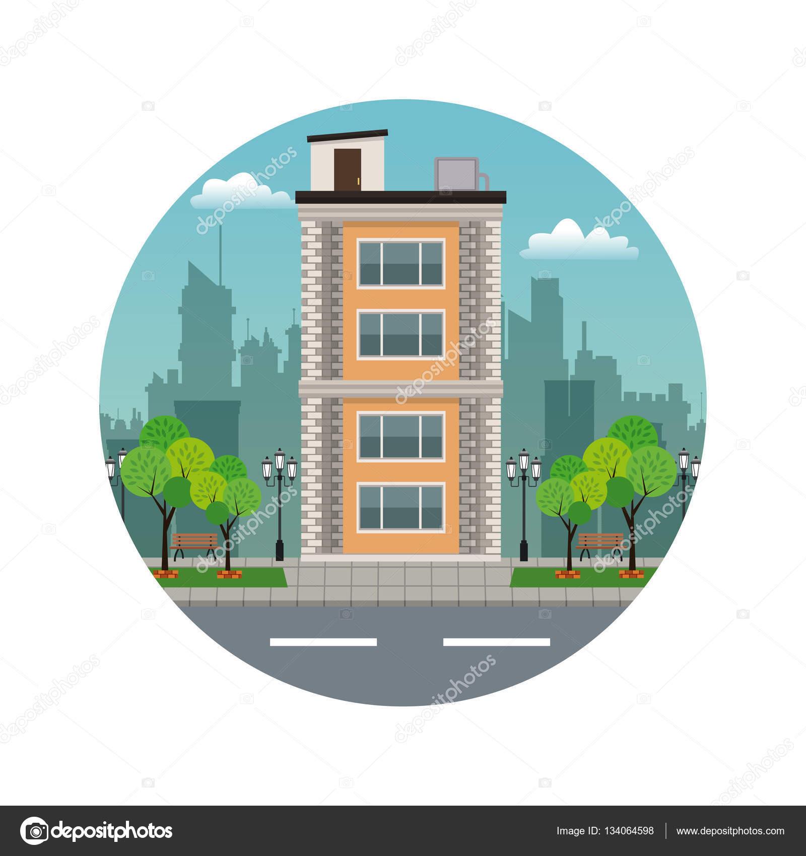 Vector Edificios De Frente Frente Edificio Terraza Con