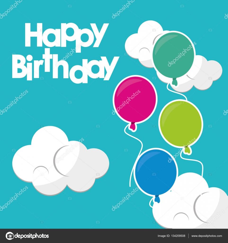 hermoso feliz cumpleaños globos fondo de nubes color turquesa ...