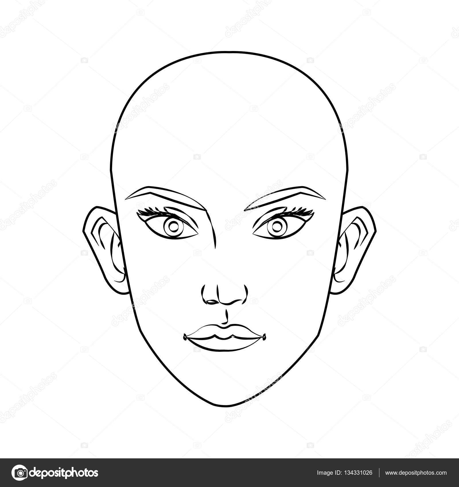 Conception De Dessin Animé Visage Femme Isolée Image Vectorielle