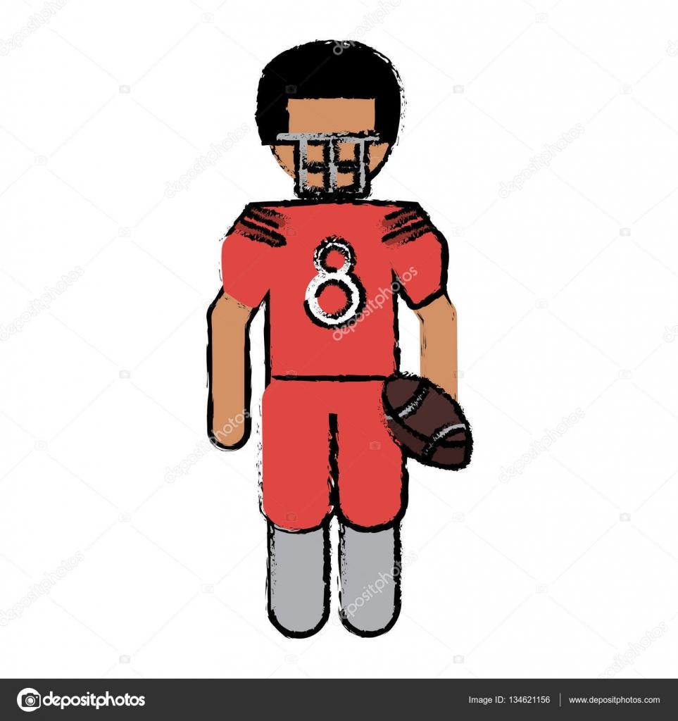 Us amerikanischer footballspieler mit helm und kugel zeichnen stockvektor
