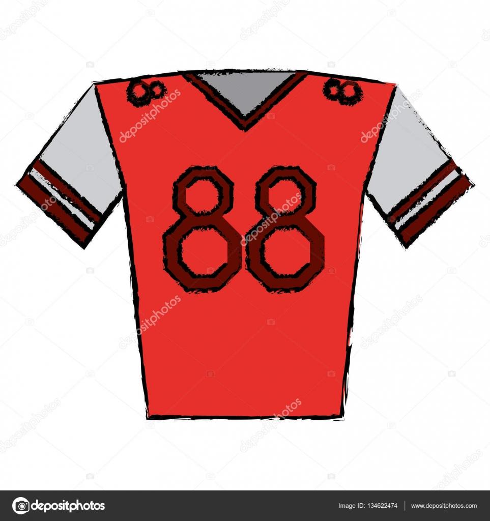 Disegno di gioco del calcio americano giocatore di maglia rossa ...