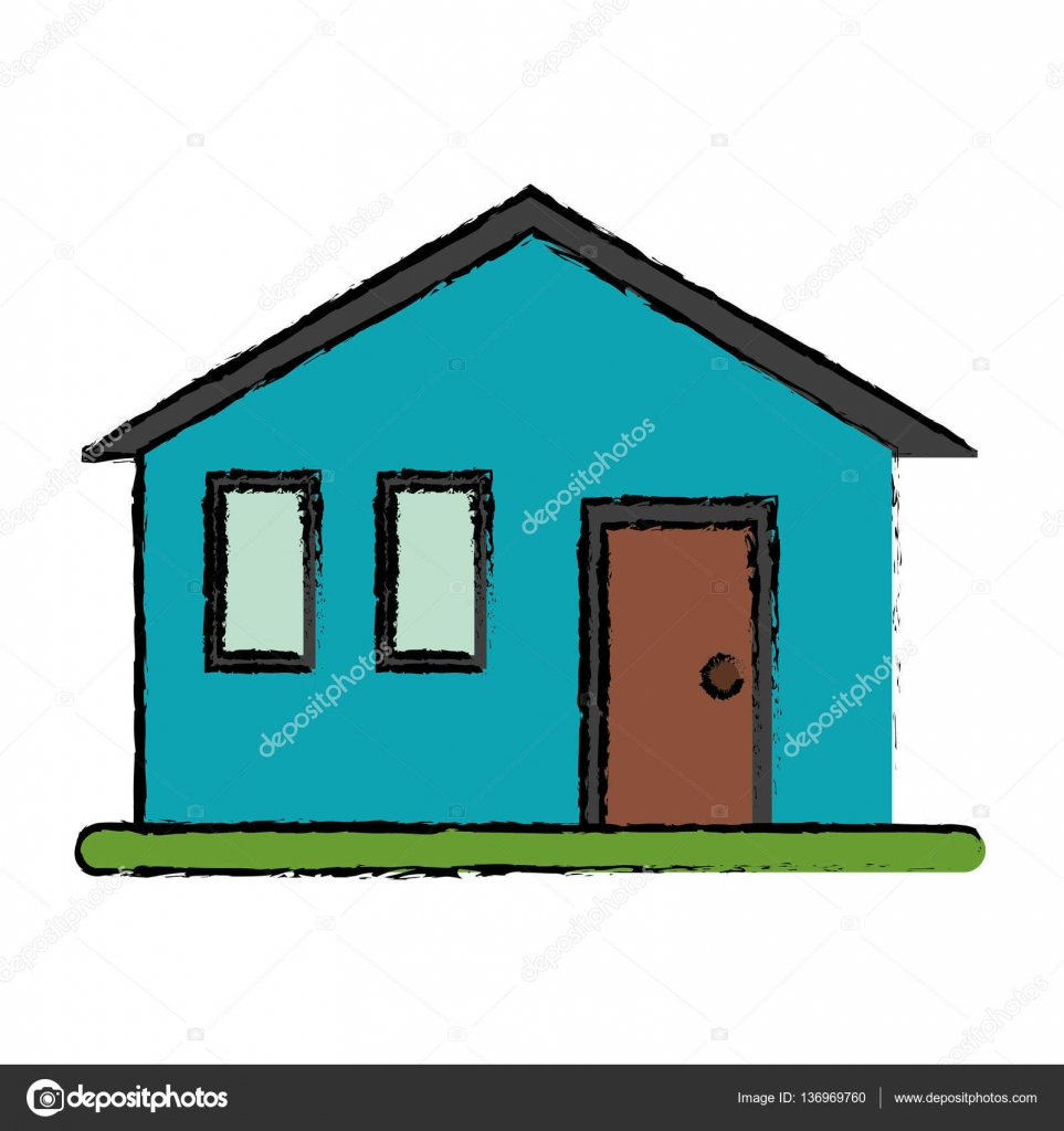 Dessin Maison Familiale Simple Façade Vector Illustration Eps 10 U2014 Vecteur  Par Jemastock