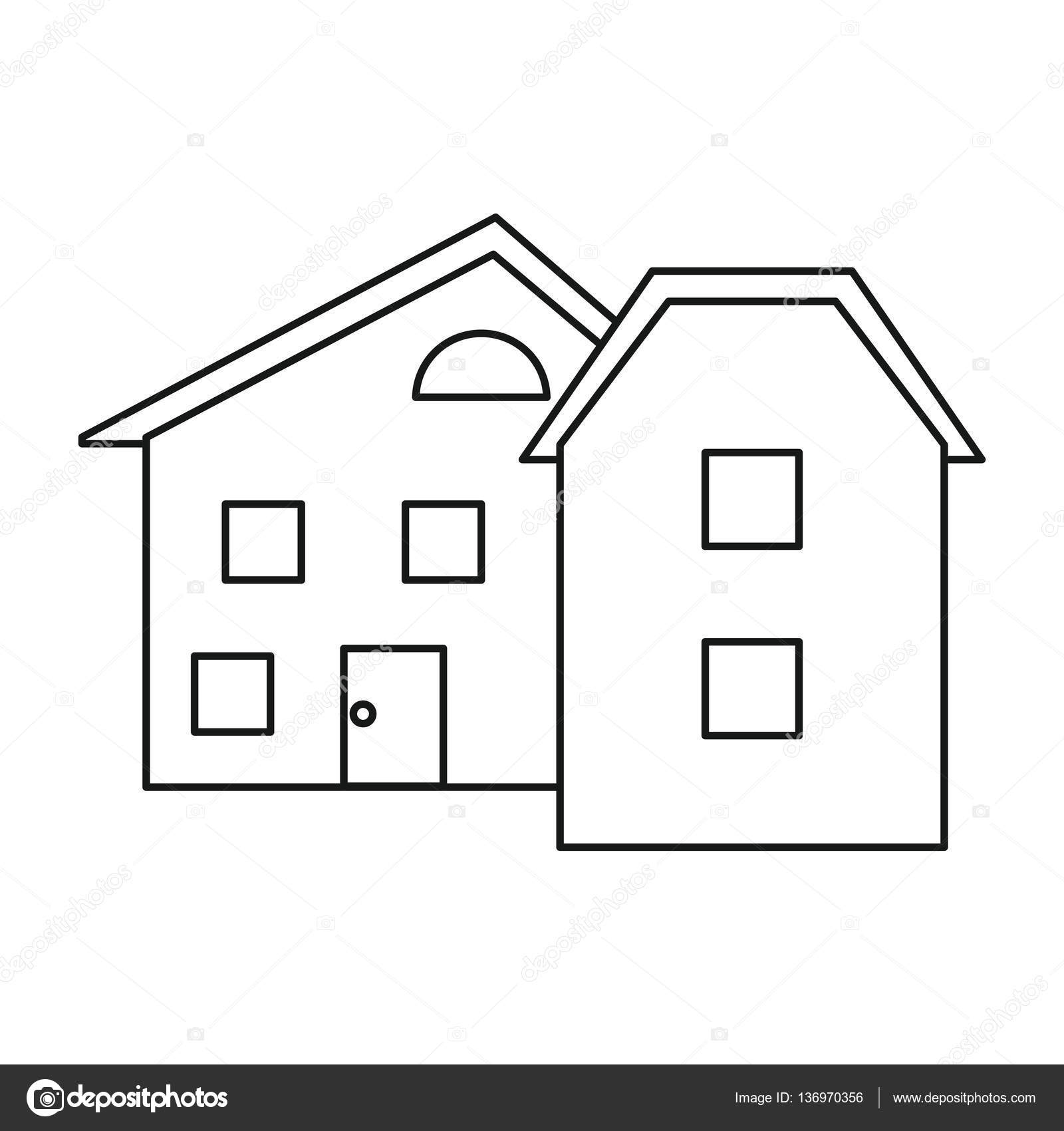 Modern home style windows outline — Stock Vector © jemastock #136970356