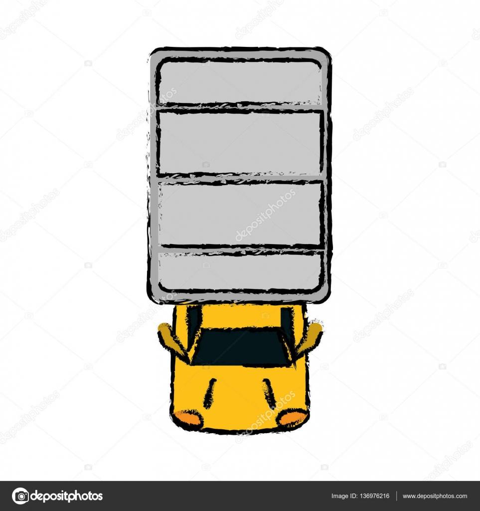 desenho de caminhão vista superior estacionamento vetores de stock