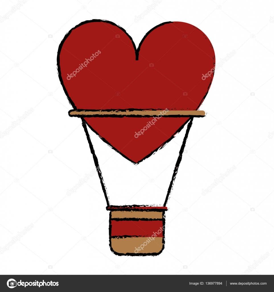 Dessin Airballon Coeur Amour Romantique Classique Image