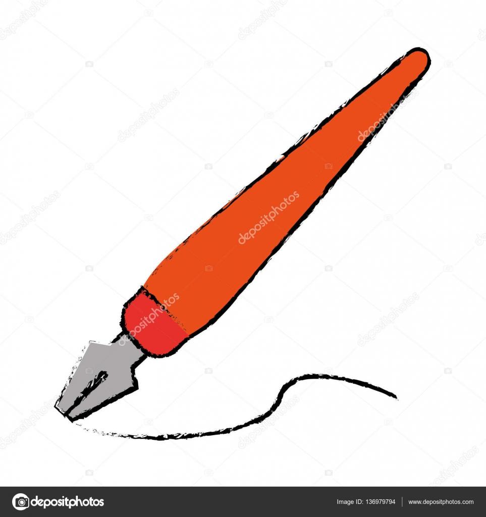 Dessin Orange Stylo Plume écrire Encre Style Travail Image