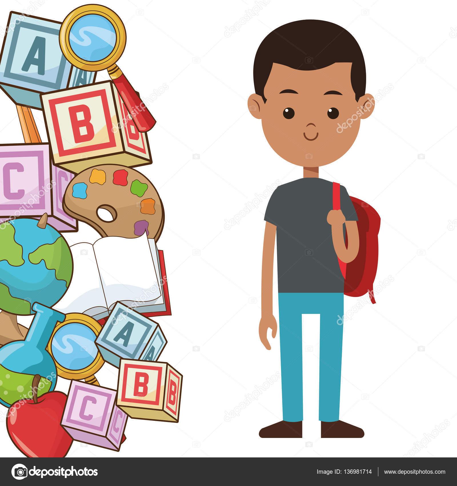 affiche pour l\'école les étudiants garçon sac à dos element — Image ...