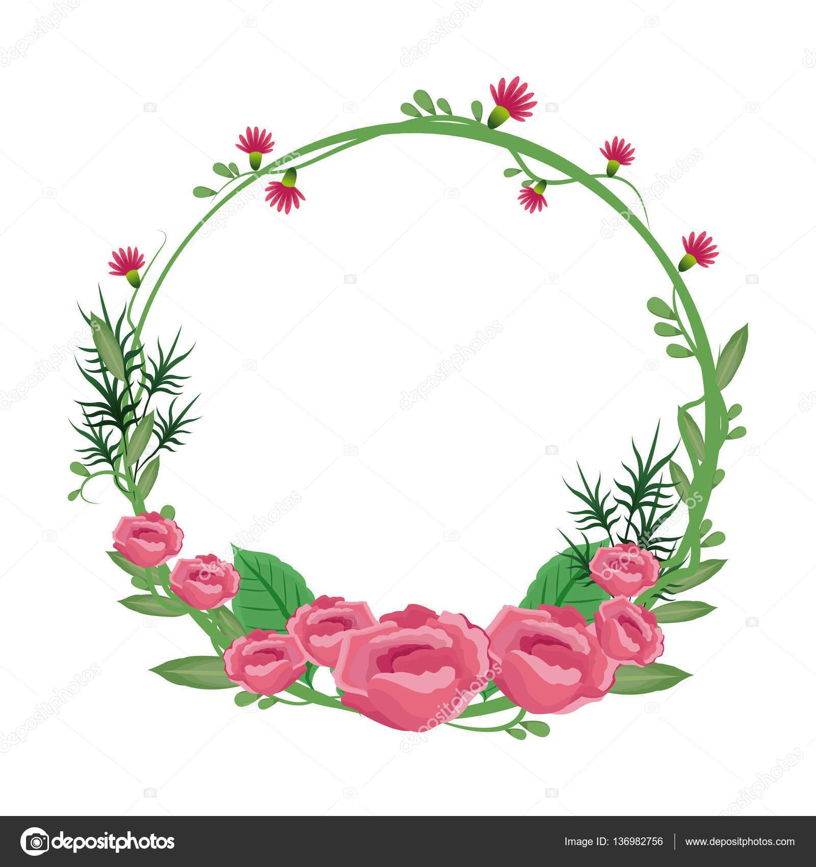marco redondo corona rosas flores de flores — Vector de stock ...