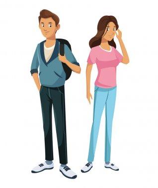 teens boy and girl classmate friend standing