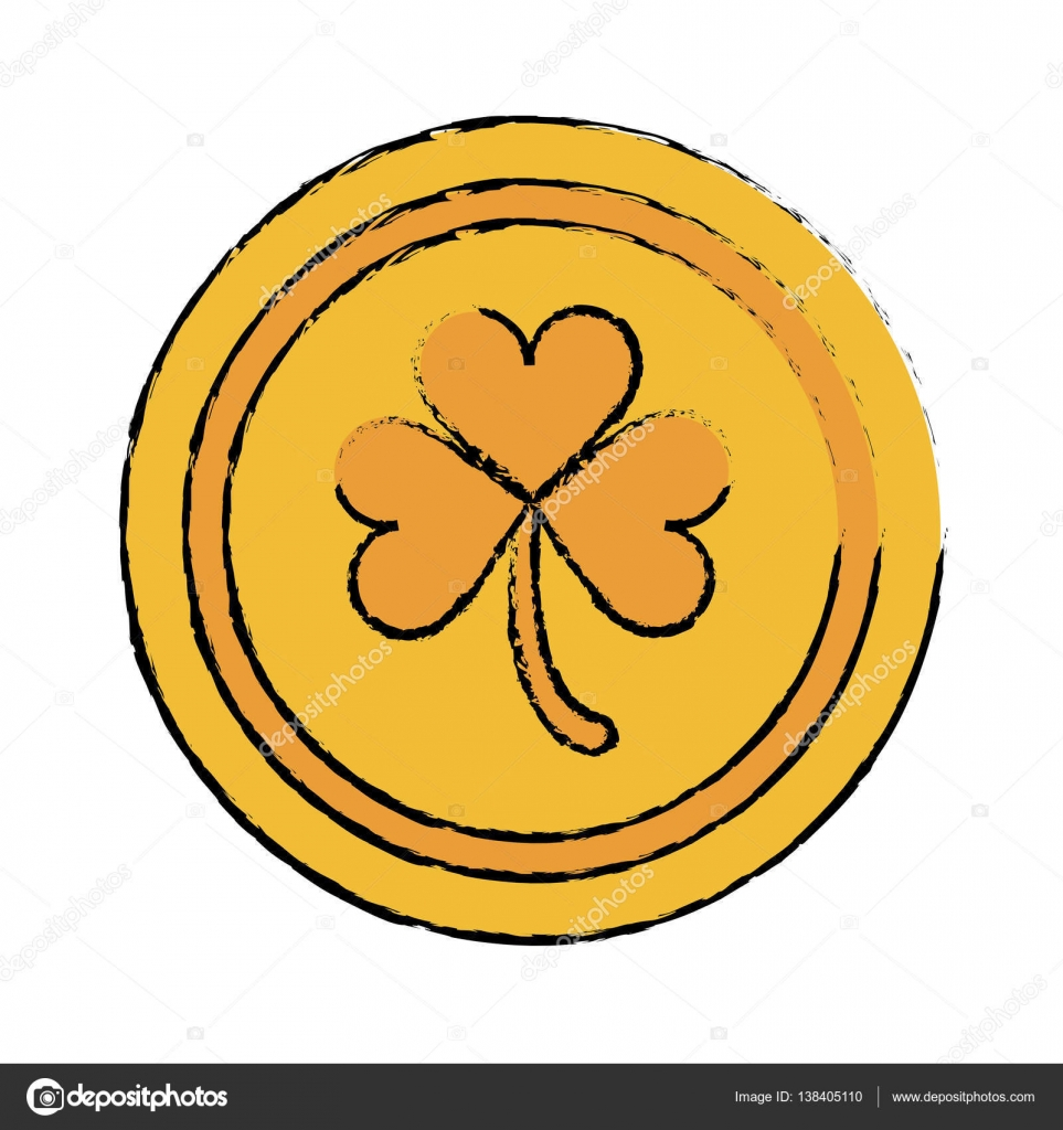 Cartoon Saint Patrick Day Gold Coin Shamrock Icon Vector Illustration Eps 10 By Jemastock