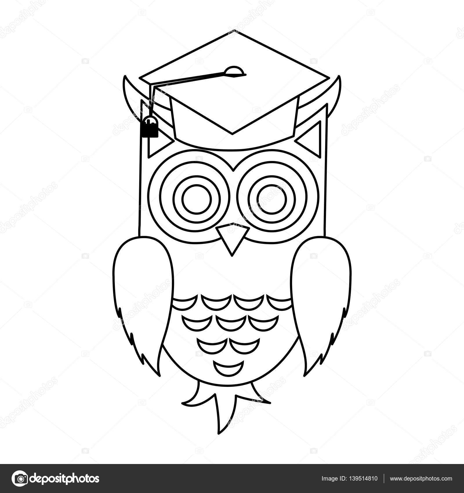 2a74a5dfc99 Buho con el casquillo de la graduación sobre fondo blanco ilustración de  vector de jemastock jpg