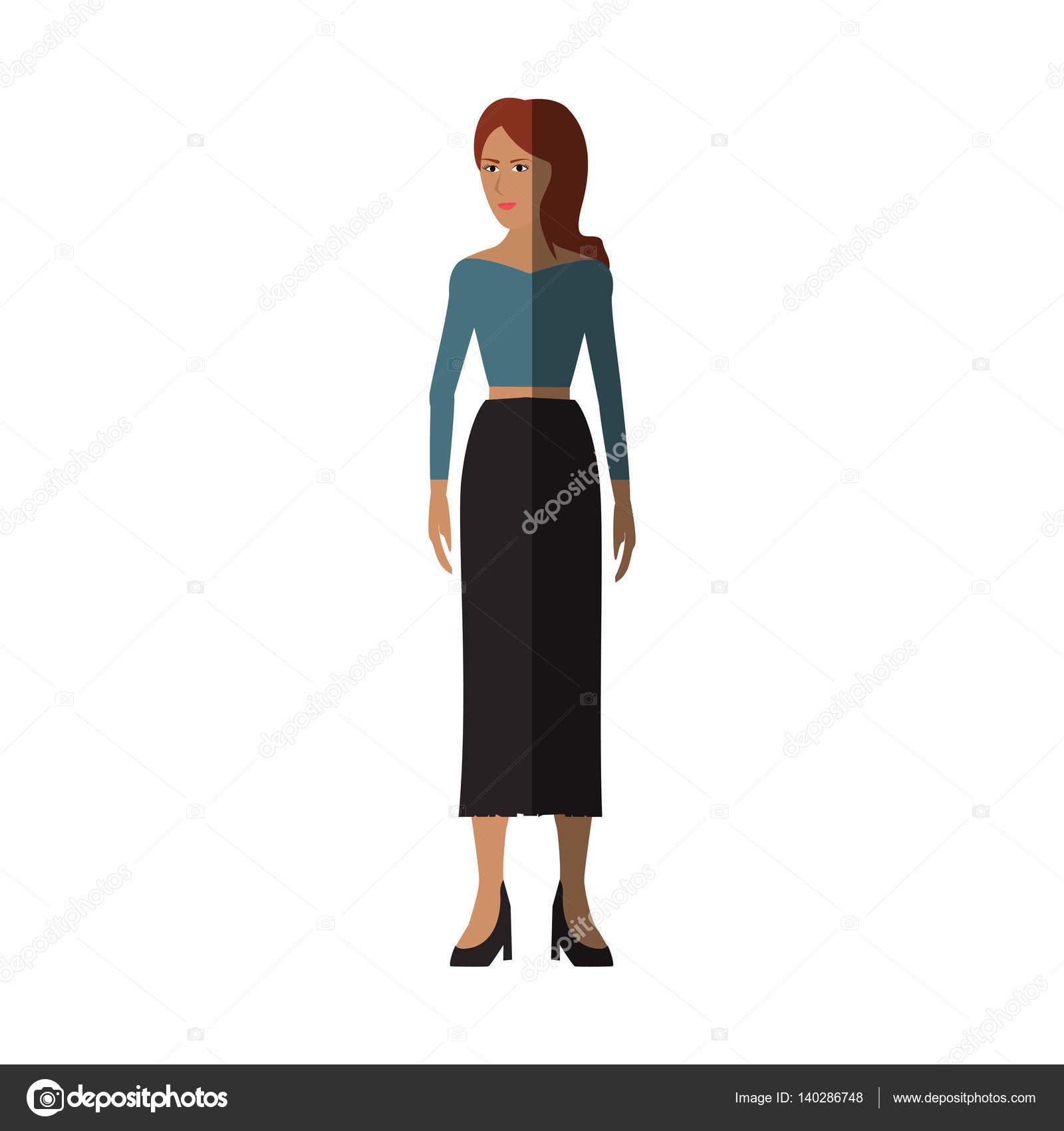 e712d957b Mujer vestida con ropa casual sobre fondo blanco. diseño colorido.  Ilustración de vector — Vector de ...