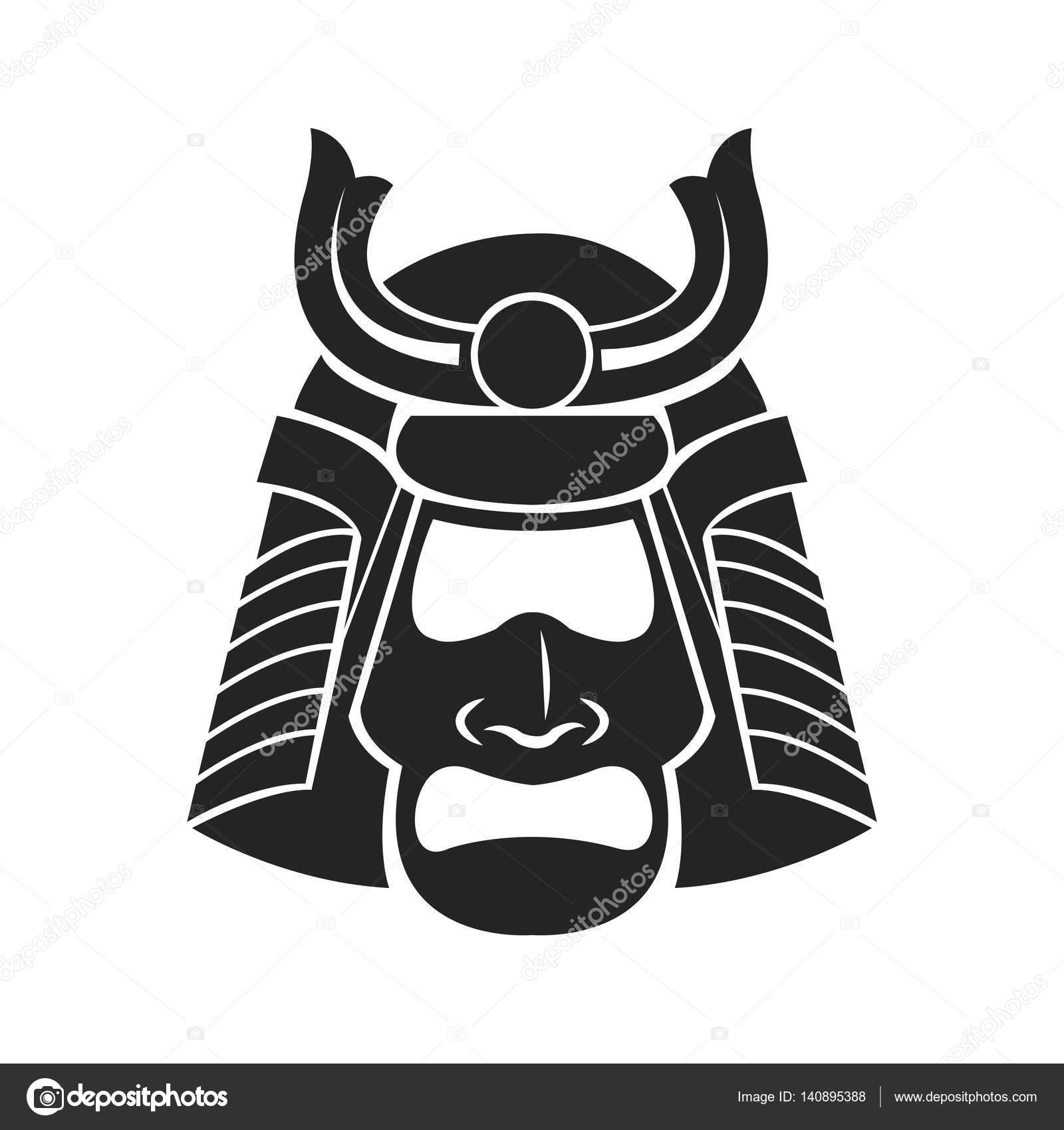 Guerrero de samurai japonés máscara — Vector de stock © jemastock ...