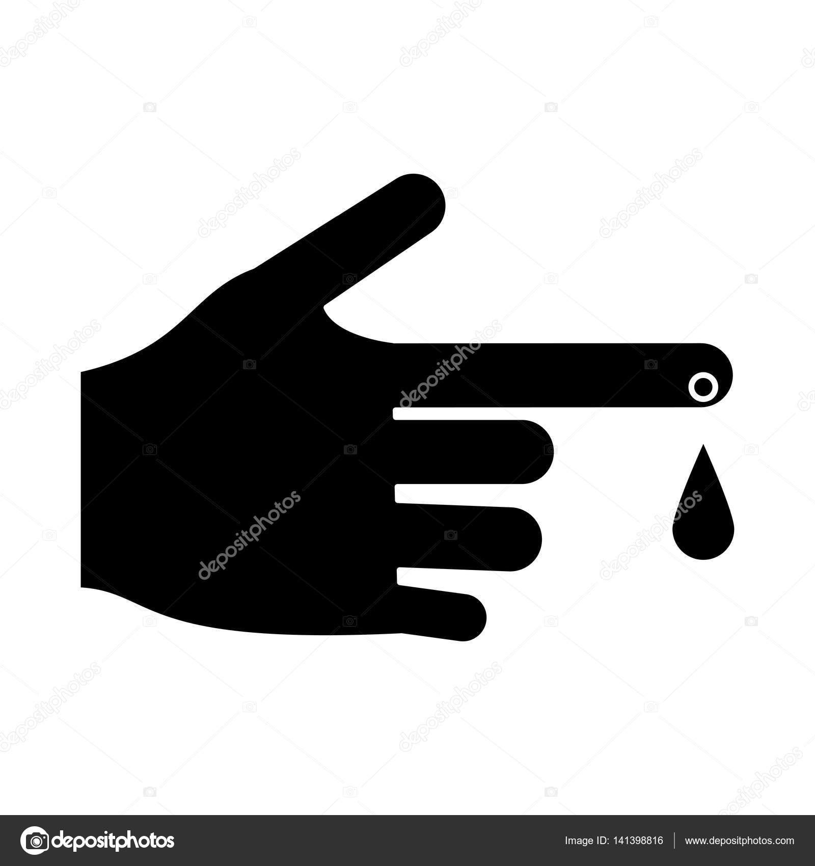 Hand blood drop symbol pictogram — Stock Vector © jemastock