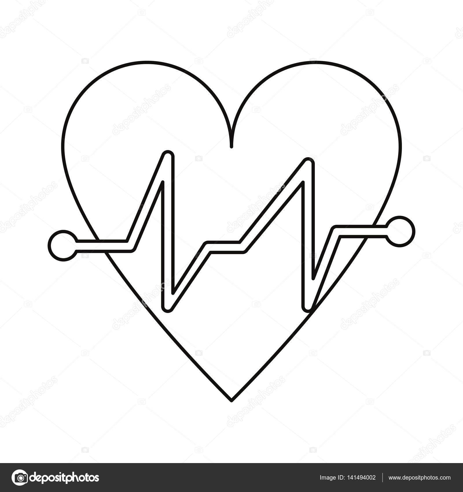 heart beat pulse cardiac medical thin line stock vector ECG Wave heart beat pulse cardiac medical thin line stock vector